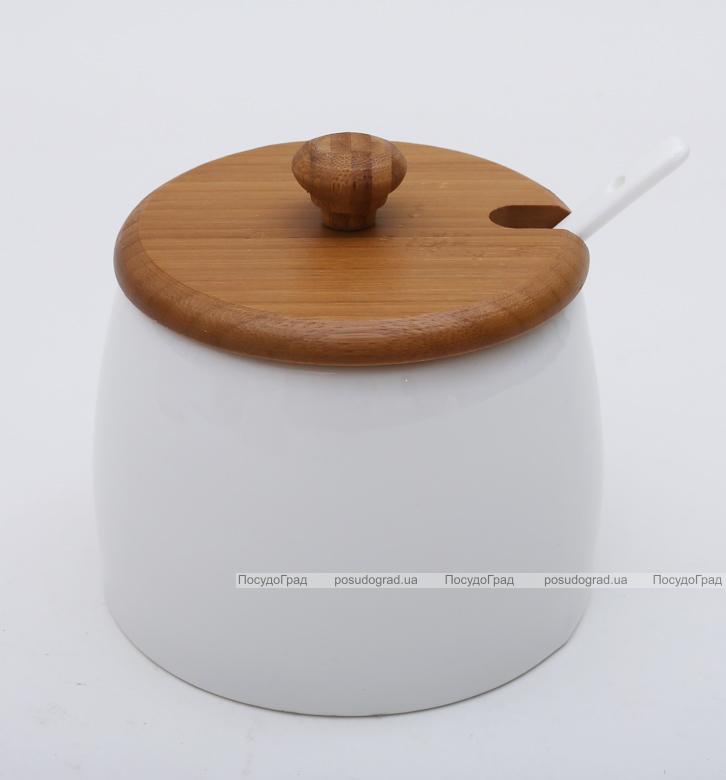Банка Ceram-Bamboo 480мл для сахара, соли или специй, круглая