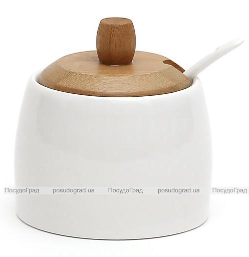 Сахарница Ceram-Bamboo 275мл с ложкой и бамбуковой крышкой