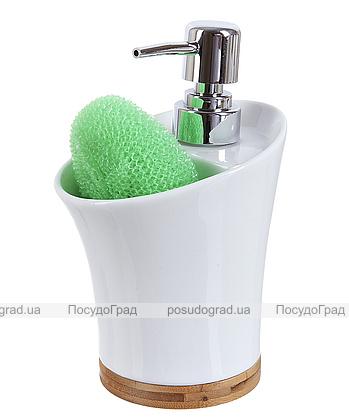 Дозатор Ceram-Bamboo для жидкого мыла 400мл с подставкой для губки