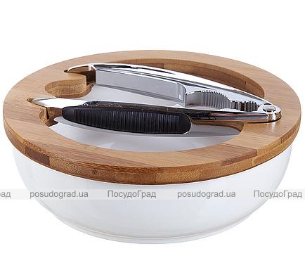 Подставка и щипцы Ceram-Bamboo для колки орехов (орехокол)