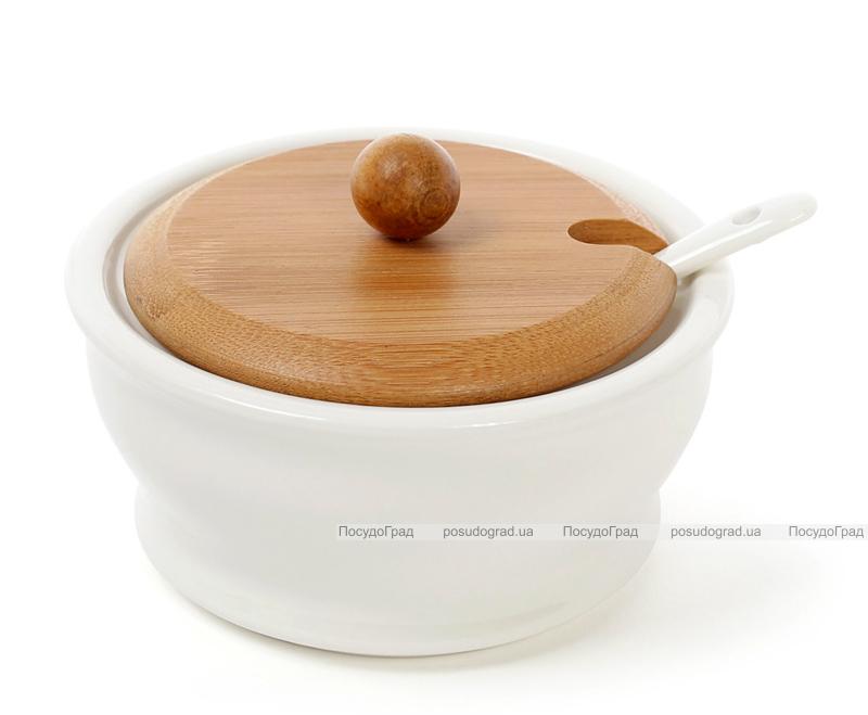 Сахарница фарфоровая Ceram-Bamboo 275мл с ложкой и бамбуковой крышкой