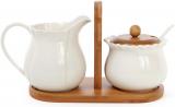 Набор Ceram-Bamboo сахарница 325мл и молочник 425мл на бамбуковой подставке