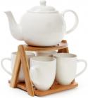 Чайный набор Ceram-Bamboo 4 кружки 300мл и чайник 1425мл на бамбуковой подставке