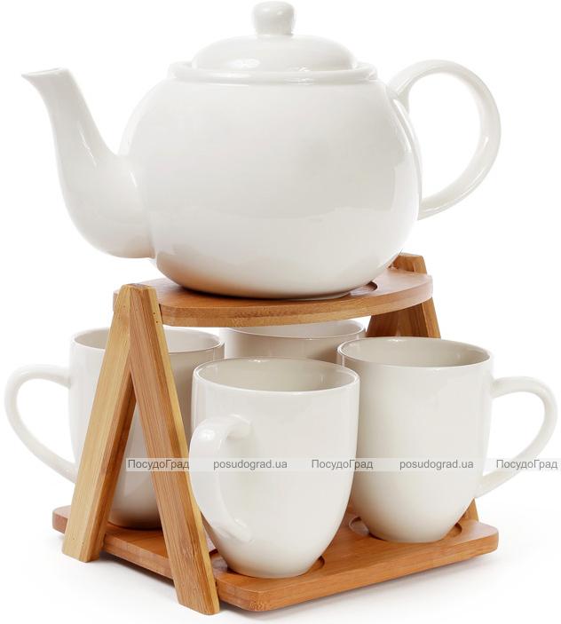 Чайний набір Ceram-Bamboo 4 чашки 300мл і чайник 1425мл на бамбуковій підставці