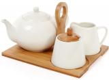 Чайний набір Ceram-Bamboo чайник, цукорниця і молочник на підставці