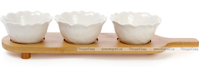 Набор 3 соусника (пиалы) Ceram-Bamboo 220мл на бамбуковой подставке