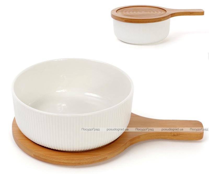 Блюдо фарфорове Ceram-Bamboo глибоке 725мл з дерев'яною кришкою-підставкою