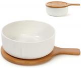 Блюдо фарфоровое Ceram-Bamboo глубокое 1275мл с деревянной крышкой-подставкой