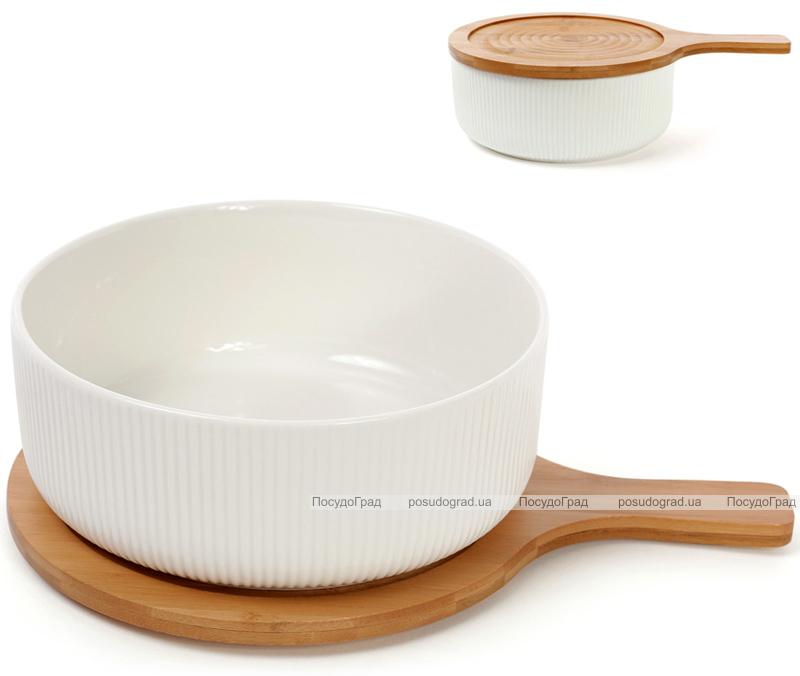 Блюдо фарфорове Ceram-Bamboo глибоке 1275мл з дерев'яною кришкою-підставкою