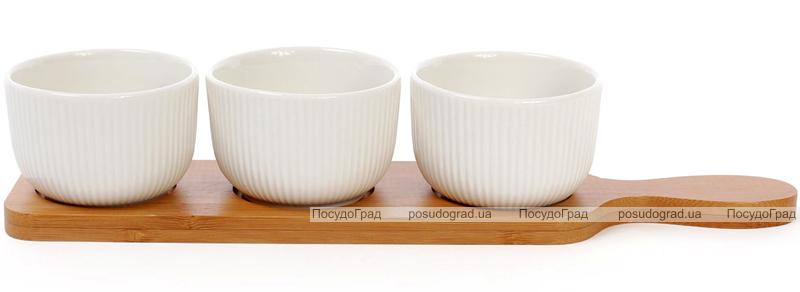 Набор 3 соусника (пиалы) Ceram-Bamboo 150мл на бамбуковой подставке