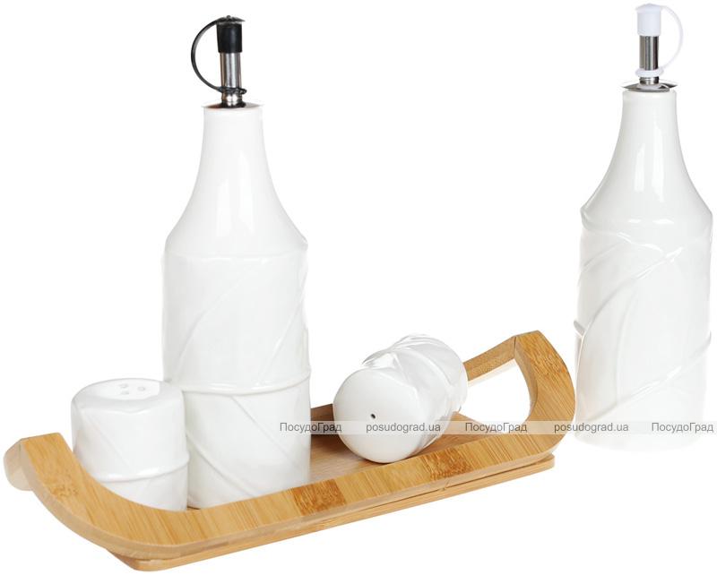 Набор для специй Nouvelle Home Лист 4 предмета: масло/уксус, соль/перец на подставке
