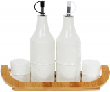 Набір для спецій Nouvelle Home Лист 4 предмети: олія/оцет, сіль/перець на підставці