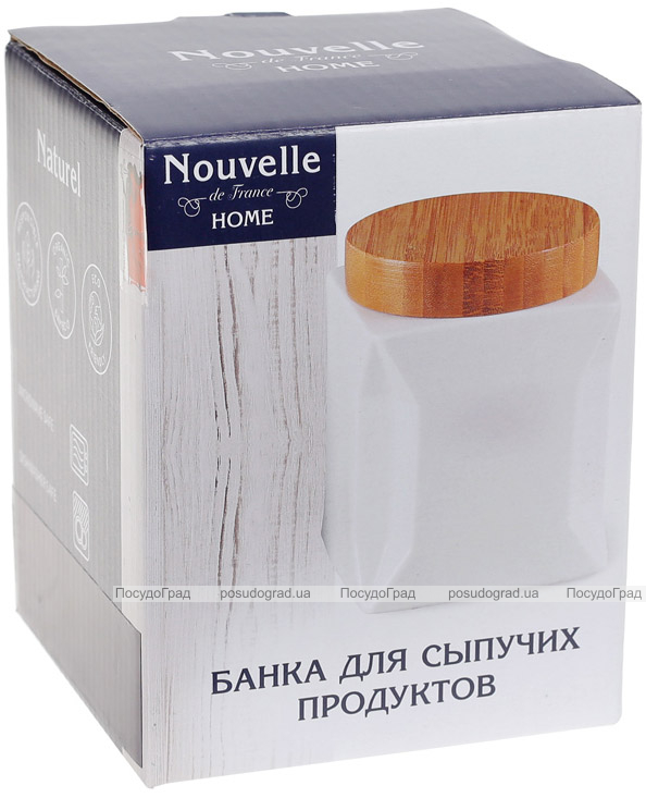 Банка фарфоровая Nouvelle Home Оригами 1050мл с бамбуковой крышкой