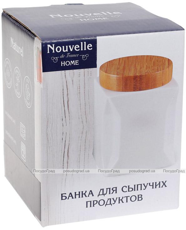 Банка порцелянова Nouvelle Home Орігамі 1050мл з бамбуковою кришкою