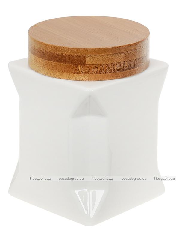 Банка фарфоровая Nouvelle Home Оригами 350мл с бамбуковой крышкой