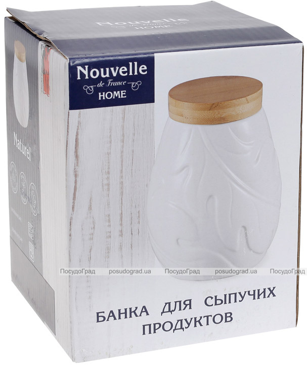 Банка фарфоровая Nouvelle Home Лист 1000мл с бамбуковой крышкой