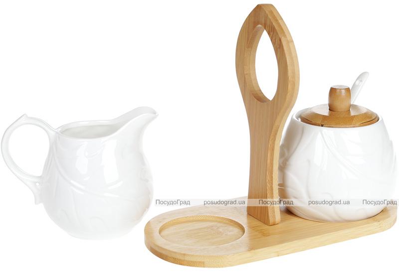 Набір для чаю Nouvelle Home Лист молочник і цукорниця на підставці