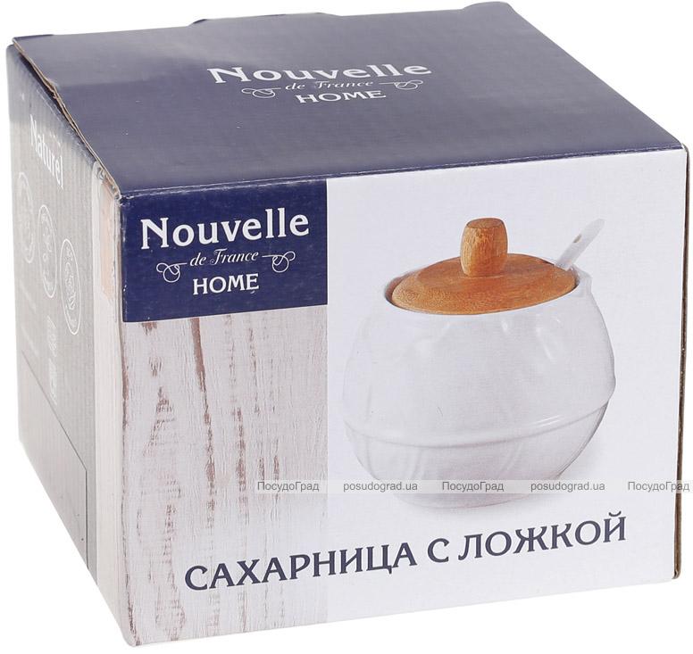 Цукорниця порцелянова Nouvelle Home Лист 500мл з ложечкою і бамбуковою кришкою