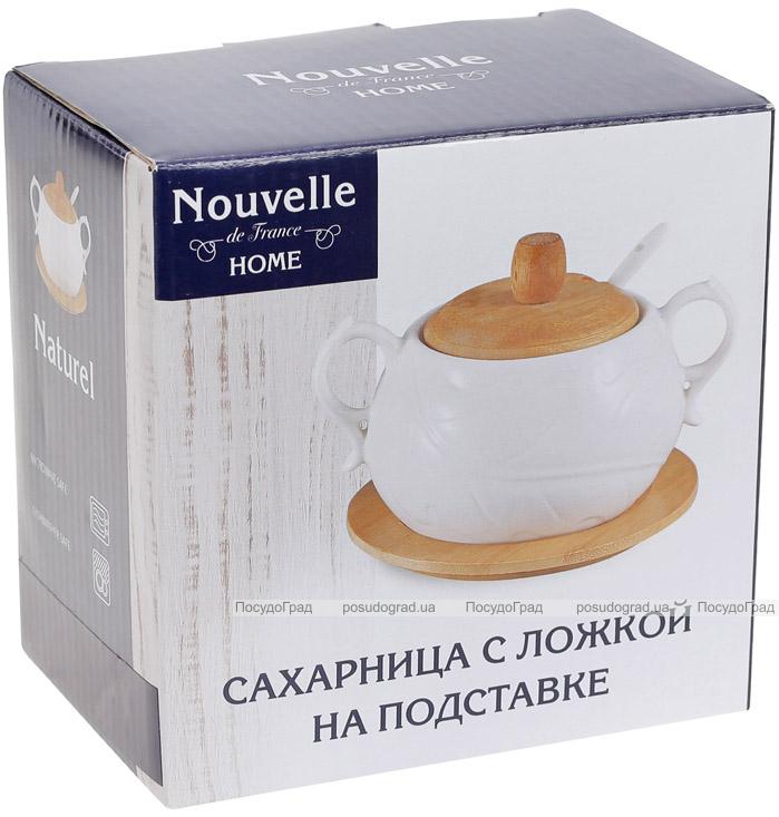 Сахарница фарфоровая Nouvelle Home Лист 400мл с двумя ручками на подставке-костере
