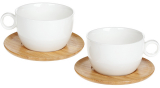 Чайный набор Nouvelle Home Глянец 2 чашки 280мл с бамбуковыми блюдцами