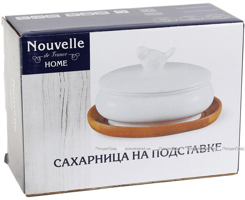 Цукорниця порцелянова Nouvelle Home Пташка 250мл на підставці-костері