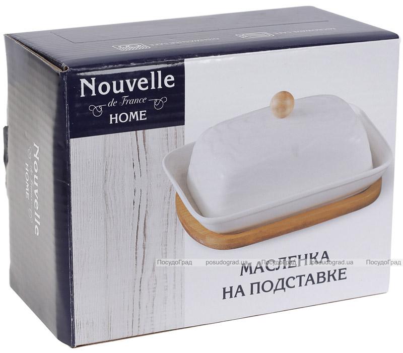 Маслянка порцелянова Nouvelle Home Хвиля 16.5х12.5х9.5см на бамбуковій підставці