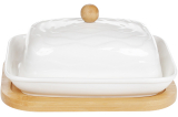 Масленка фарфоровая Nouvelle Home Волна 16.5х12.5х9.5см на бамбуковой подставке