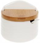 Банка фарфоровая Nouvelle Home Волна 300мл с откидной бамбуковой крышкой