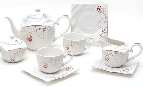 Чайный сервиз Spoleto-09 15 предметов на 6 персон, фарфор, 220мл