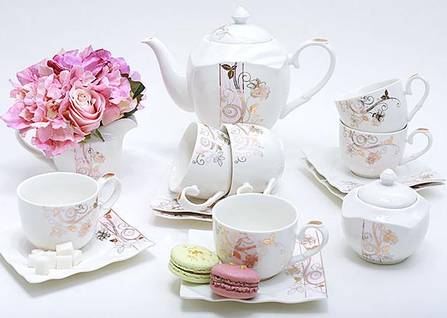 Чайный сервиз Spoleto-17 15 предметов на 6 персон, фарфор, 220мл