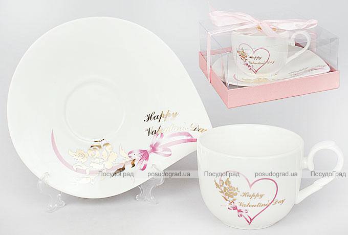 "Чайная пара ""Happy Valentine's Day"" чашка 220мл с блюдцем"