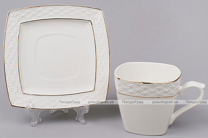 Чайная пара White Princess чашка 240мл и блюдце квадратные