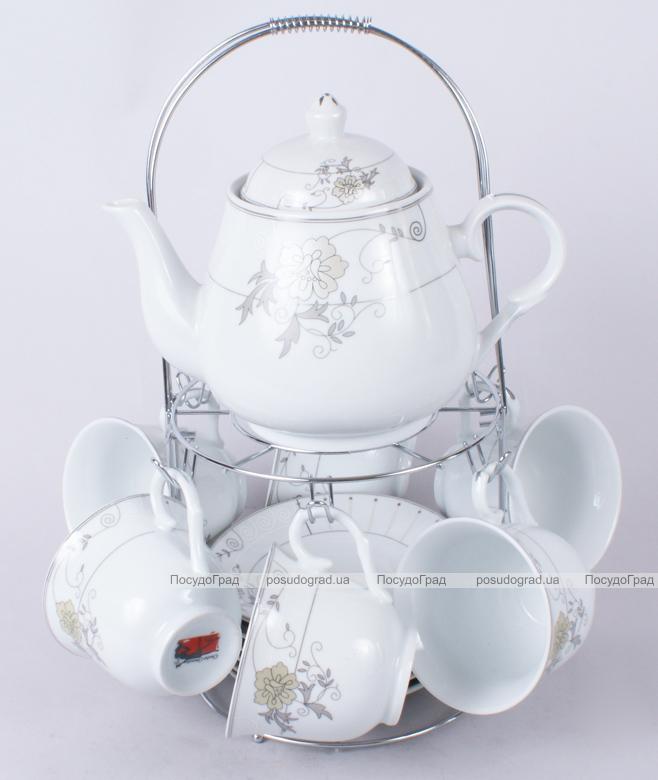 Чайный набор Tea Party. Чайник, 6 чашек 240мл, 6 блюдец и подставка с ручкой