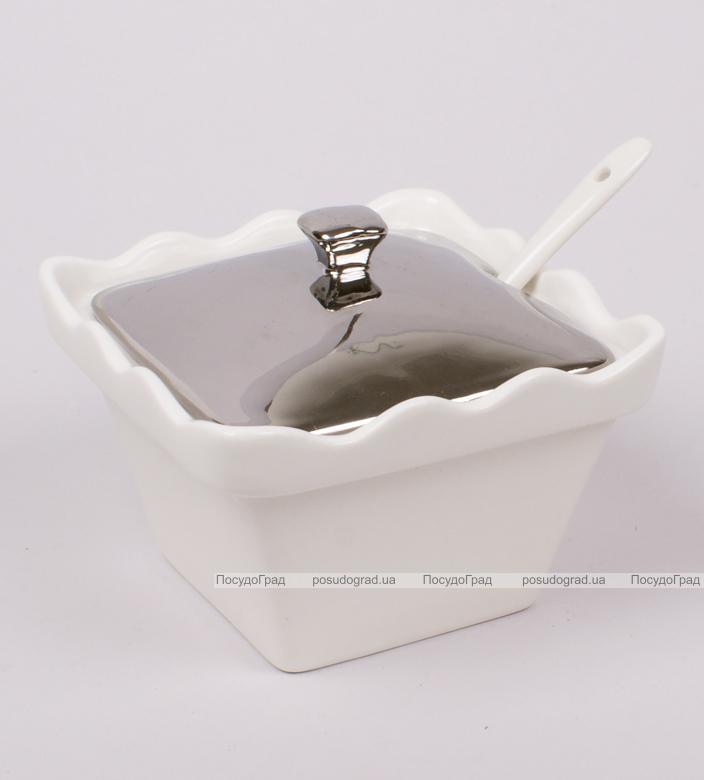 Сахарница фарфоровая Silver Glade-12 с ложечкой