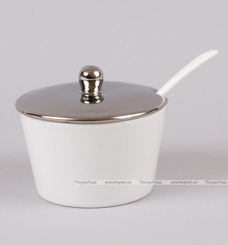 Сахарница фарфоровая Silver Glade-13 с ложечкой
