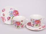 Кофейный набор Romantic Life-80, 6 чашек 90мл и 6 блюдец