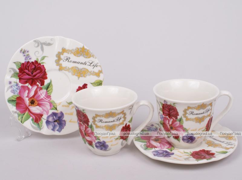 Кофейный набор Romantic Life-99, 6 чашек 90мл и 6 блюдец