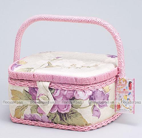 """Шкатулка для рукоделия """"Весна в Париже Pink and Purple Flowers"""", 23.5x19.5x11.5см"""
