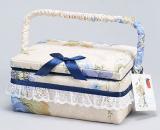 """Шкатулка для рукоділля """"Весна в Парижі Beige with Blue"""", 21.5x16x10.5см"""