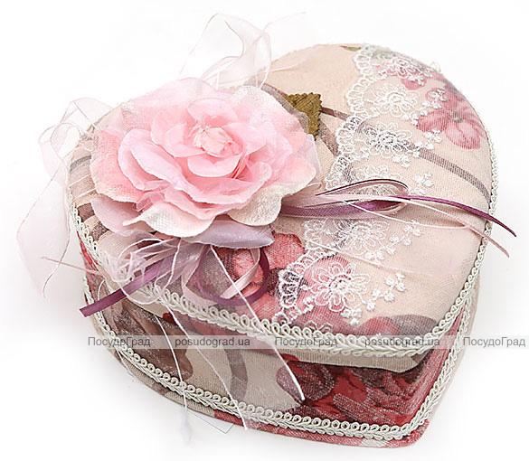 """Шкатулка для украшений """"Милая Дама Rose Heart"""" с зеркальцем, 17.8x15x7см"""