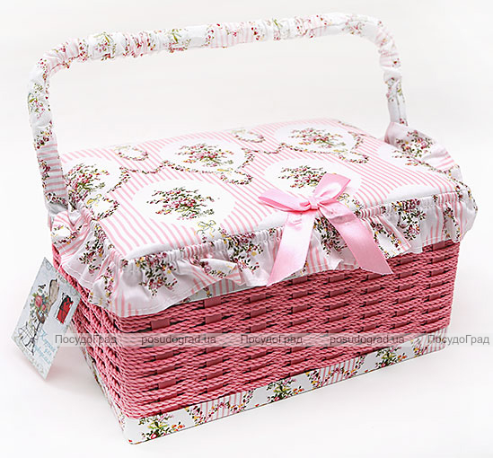 "Шкатулка для рукоделия ""Весна в Париже Pink Basket"", 25x18.5x14см"