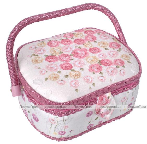 "Шкатулка для рукоделия ""Мастерица Pink Rose Contrast"", 23.5x19.5x11.5см"