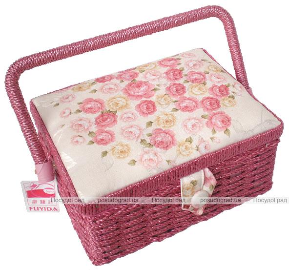 "Шкатулка для рукоделия ""Мастерица Pink Rose Contrast Basket"", 22.5x17.5x11.5см"