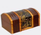 """Набор из двух деревянных шкатулок """"Сундучок Кофр Тиснение Атлас"""", 22x15x11см и 18x11x8см"""