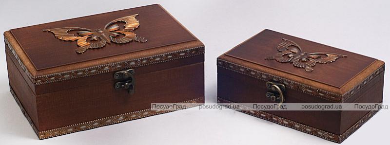 """Набор из двух деревянных шкатулок """"Сундучок Бабочка"""", 22x15x9см и 18x11x7см"""