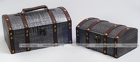 """Набор из двух деревянных шкатулок """"Сундучок Поклажа"""", 22x15x11см и 18x11x9см"""