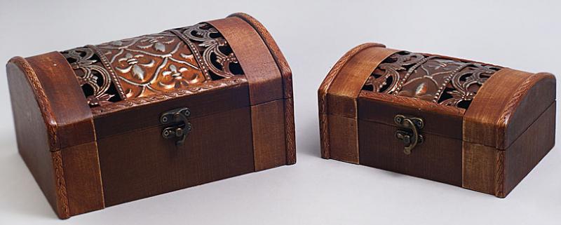 """Набор из двух деревянных шкатулок """"Сундучок Решетка Ажур"""", 22x15x11см и 18x11x9см"""