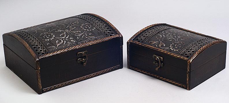 """Набор из двух деревянных шкатулок """"Сундучок Темный Ажур"""", 22x18x10см и 18x14x8см"""