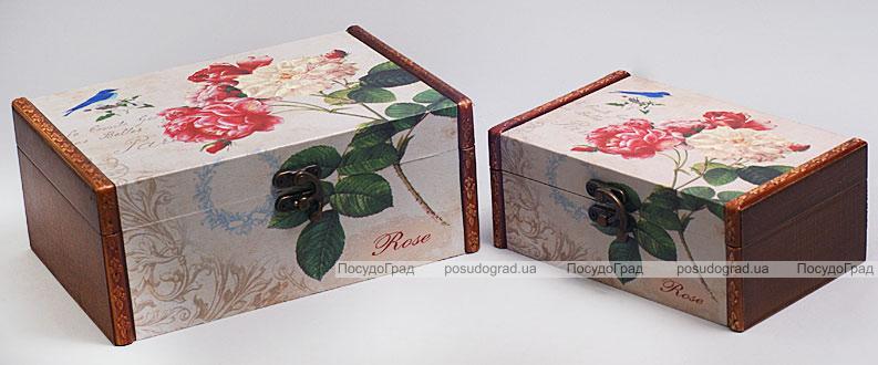 """Набор из двух деревянных шкатулок """"Дуардин Розы и Синяя Птица"""", 22x15x9см и 18x11x7см"""