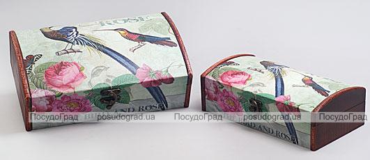 """Набор из двух деревянных шкатулок """"Дуардин Райская Птица"""", 30x18x10см и 26x14x8см"""